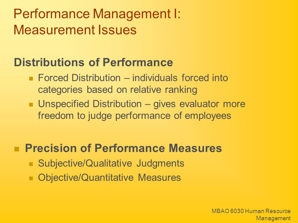 Performance Management I: Measurement Issues