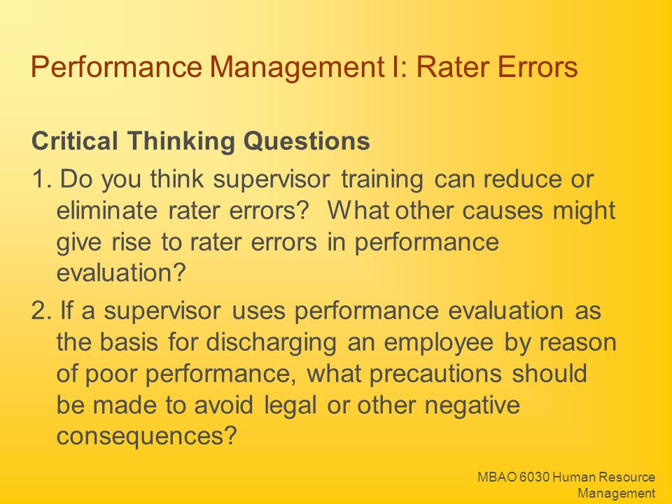 Performance Management I: Rater Errors