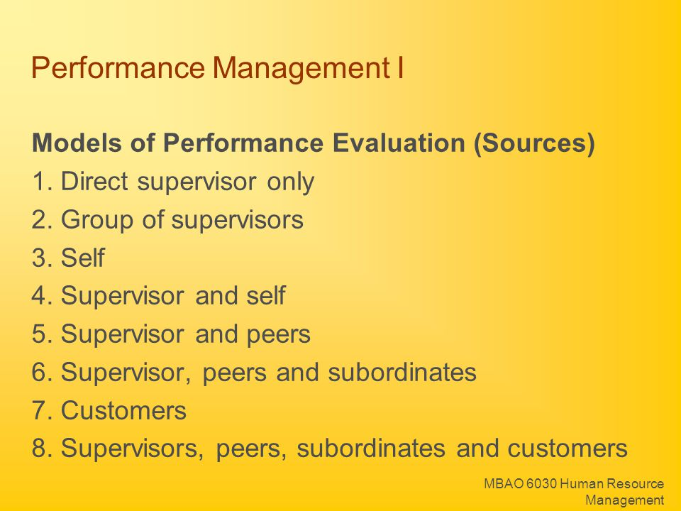 Performance Management I