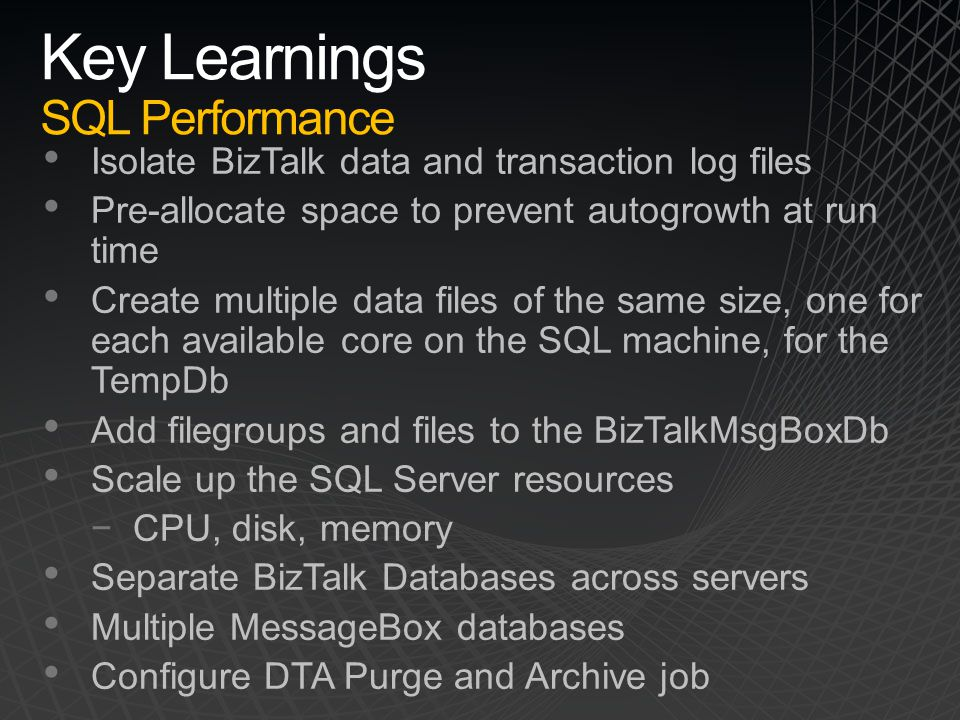 Key Learnings SQL Performance