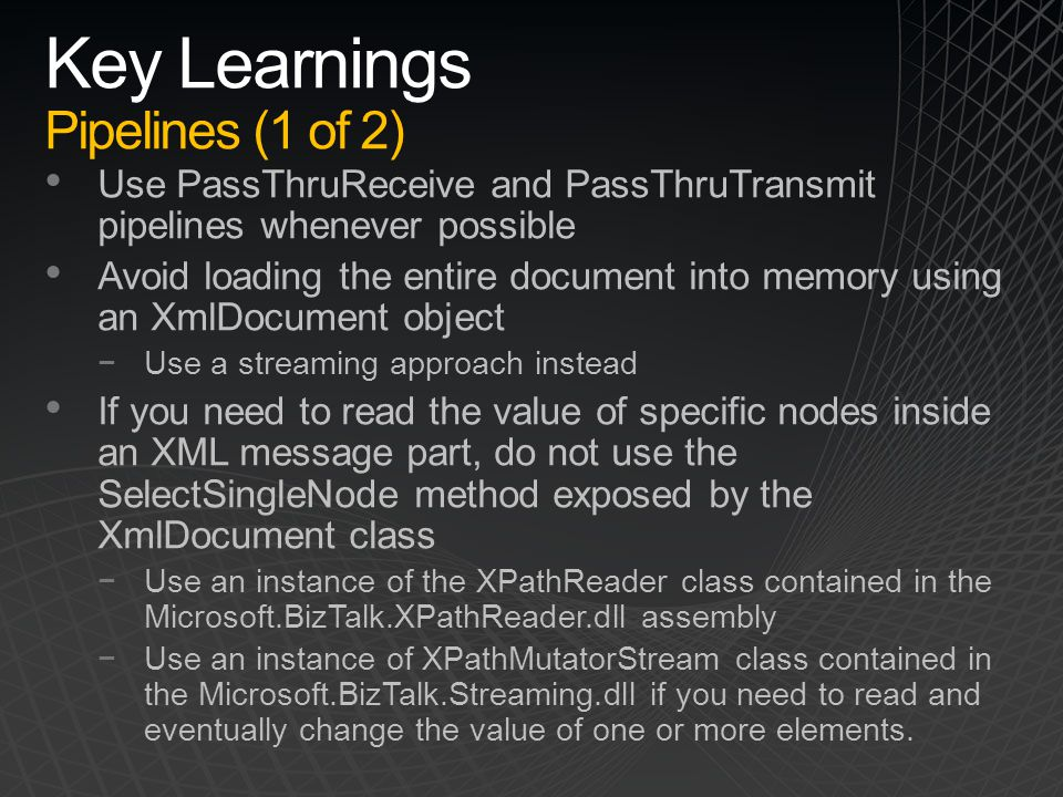 Key Learnings Pipelines (1 of 2)
