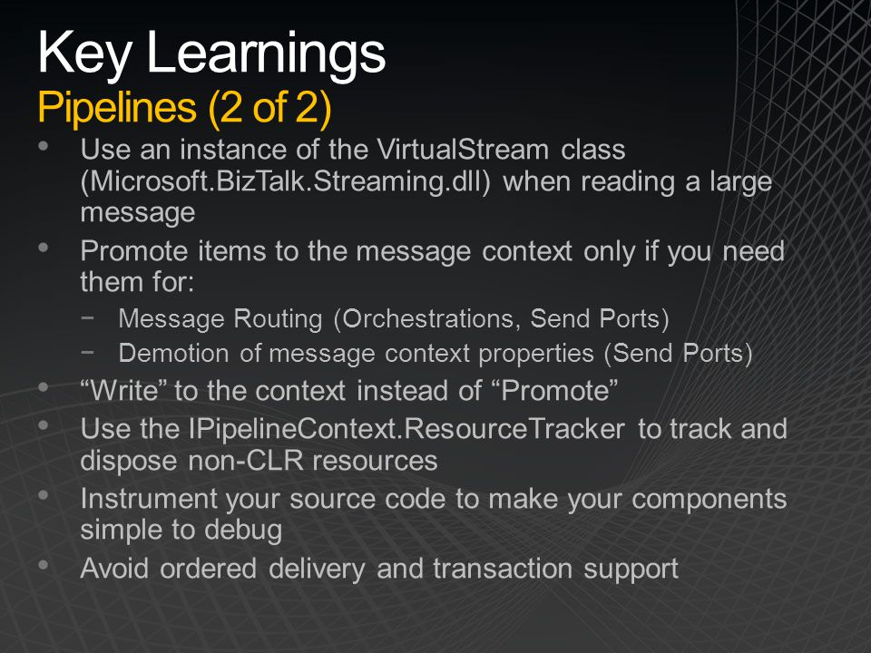 Key Learnings Pipelines (2 of 2)