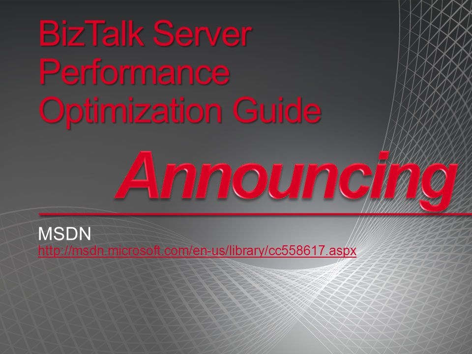 BizTalk Server Performance Optimization Guide