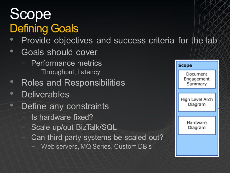 Scope Defining Goals Provide objectives and success criteria for the lab. Goals should cover. Performance metrics.