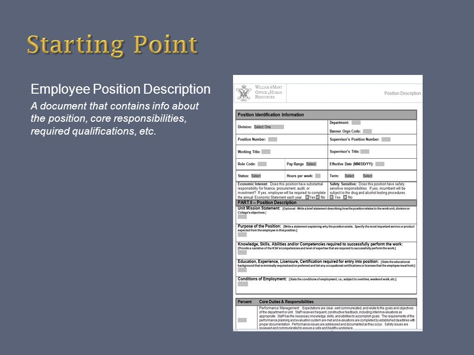 Starting Point Employee Position Description