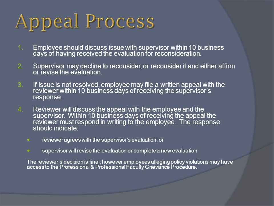 Appeal Process Employee should discuss issue with supervisor within 10 business days of having received the evaluation for reconsideration.