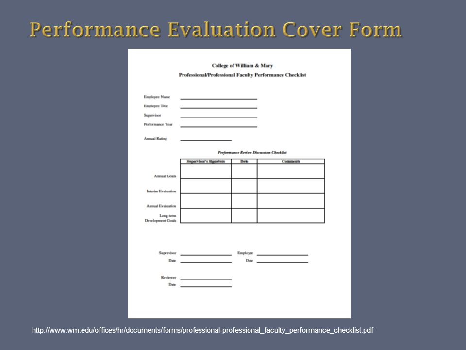 Performance Evaluation Cover Form