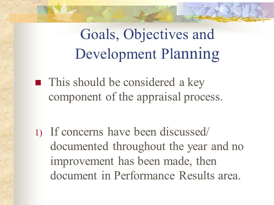 Goals, Objectives and Development Planning