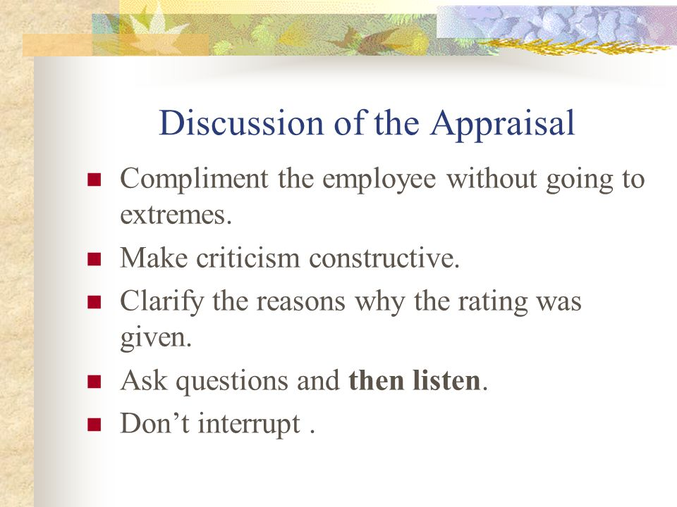 Discussion of the Appraisal