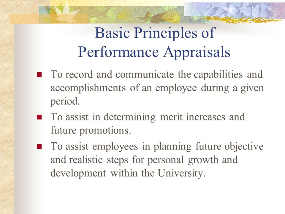 Basic Principles of Performance Appraisals