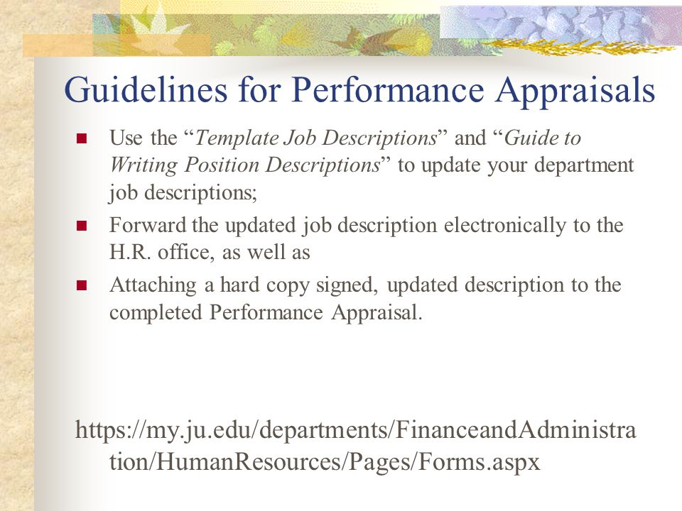 Guidelines for Performance Appraisals
