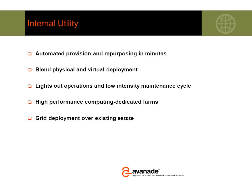 Internal Utility Automated provision and repurposing in minutes