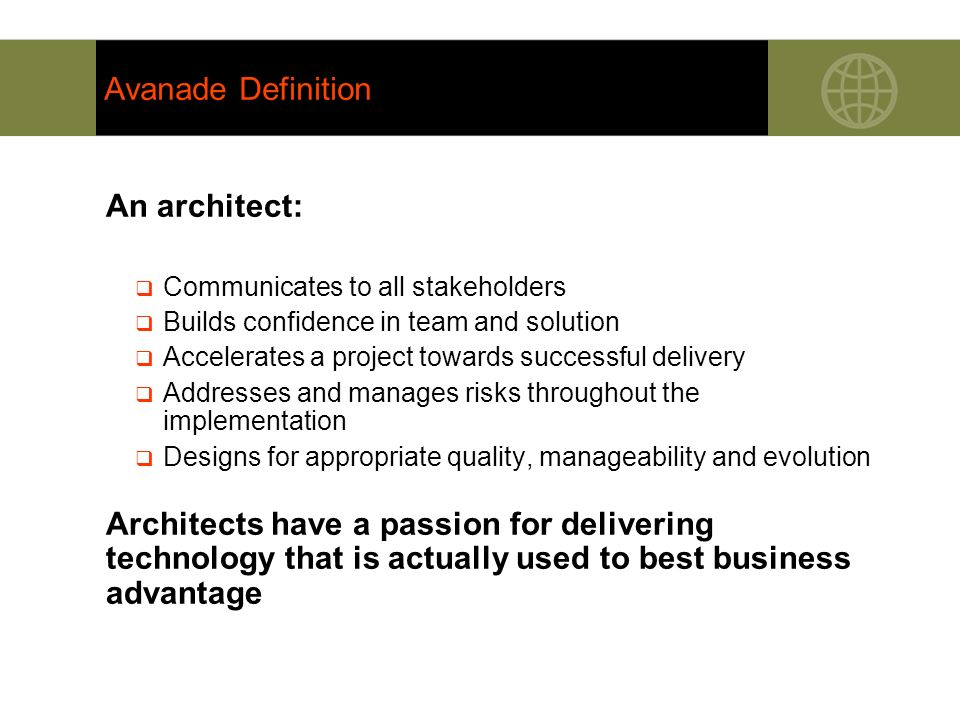 Avanade Definition An architect: