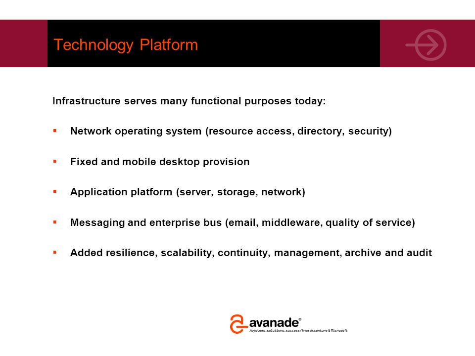 Technology Platform Infrastructure serves many functional purposes today: Network operating system (resource access, directory, security)