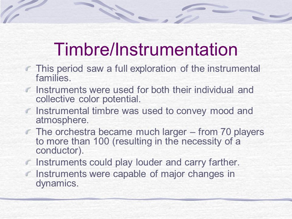 Timbre/Instrumentation