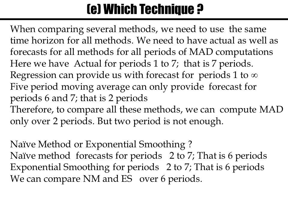 (e) Which Technique
