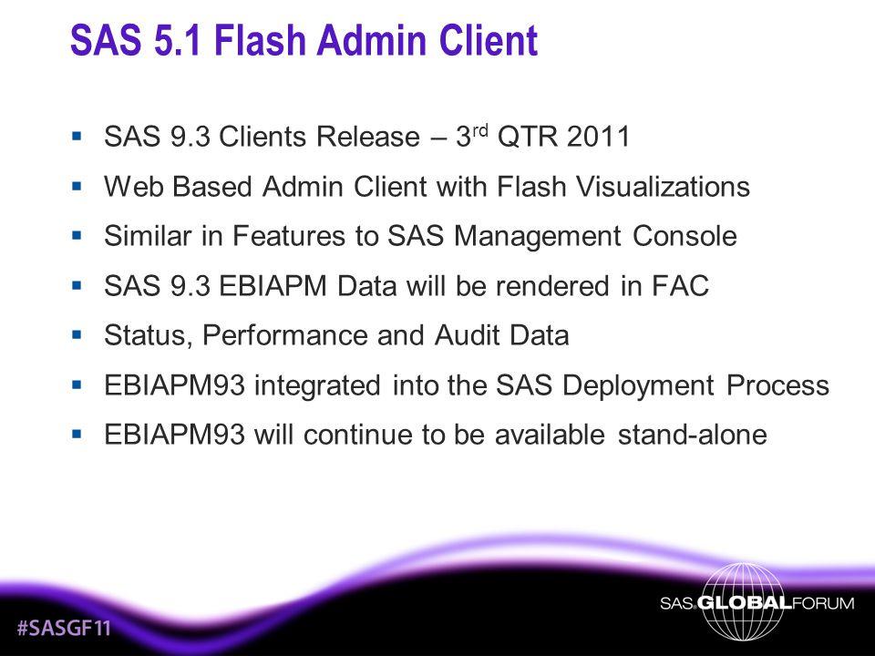 SAS 5.1 Flash Admin Client SAS 9.3 Clients Release – 3rd QTR 2011
