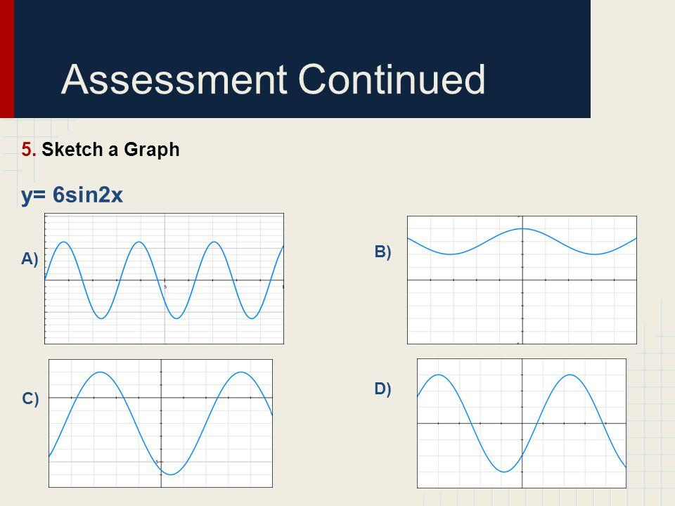 Assessment Continued 5. Sketch a Graph y= 6sin2x A) B) D) C)