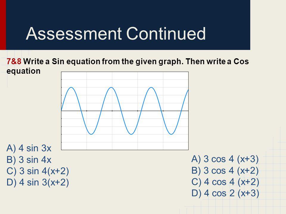 Assessment Continued A) 4 sin 3x B) 3 sin 4x C) 3 sin 4(x+2)