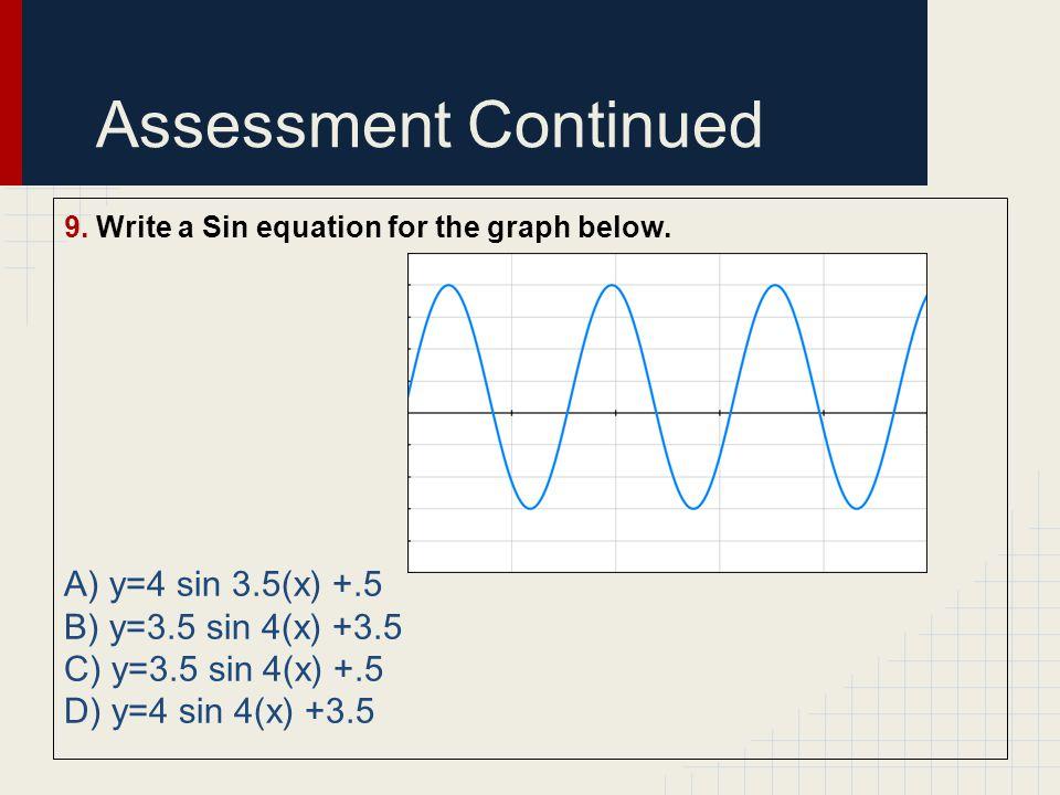 Assessment Continued A) y=4 sin 3.5(x) +.5 B) y=3.5 sin 4(x) +3.5