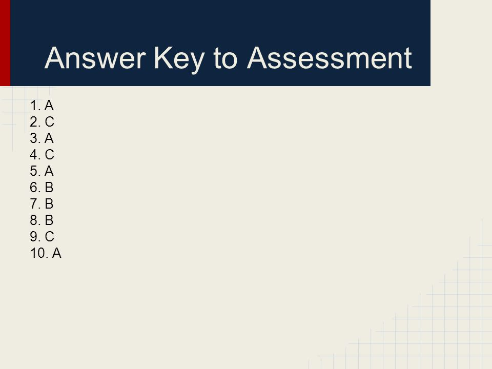 Answer Key to Assessment