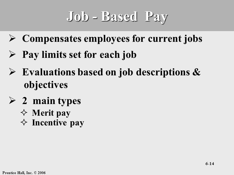 Job - Based Pay Compensates employees for current jobs