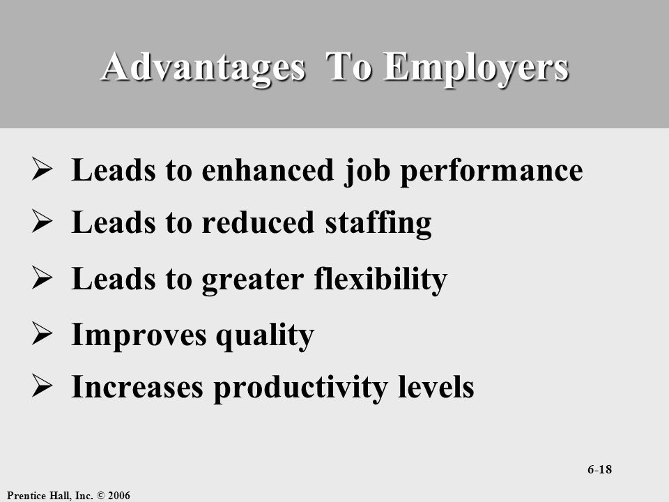 Advantages To Employers