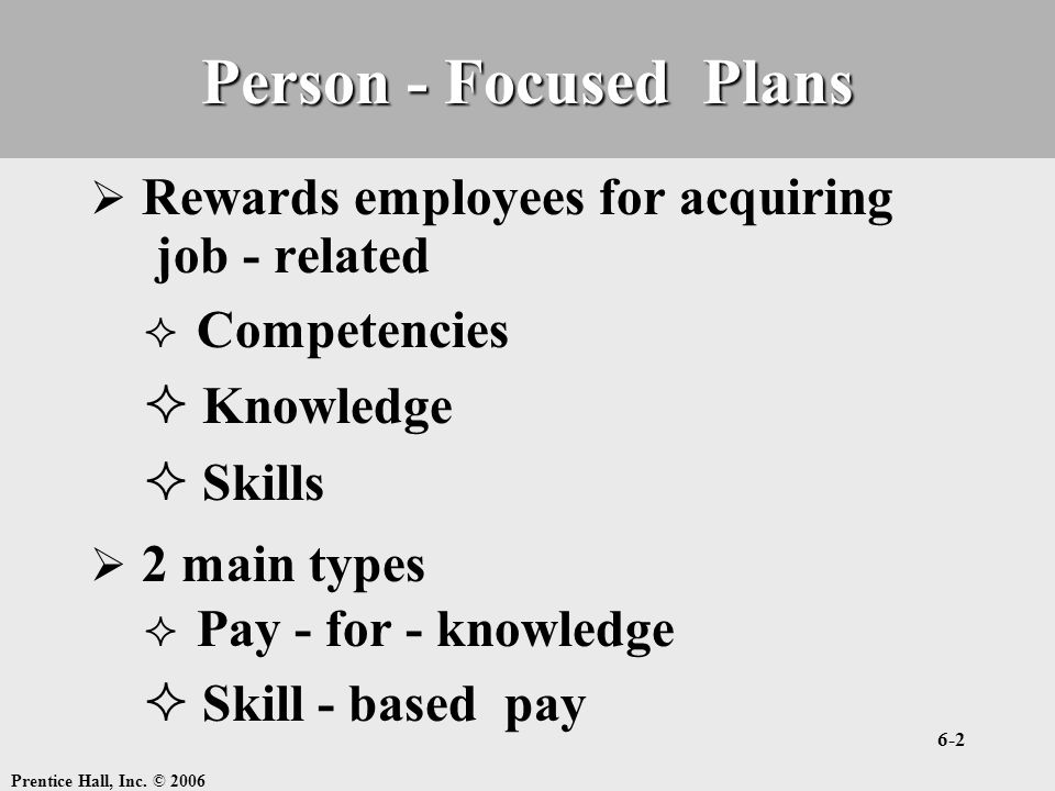 Person - Focused Plans job - related Knowledge Skills