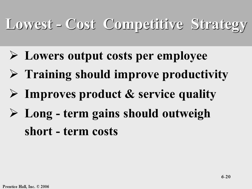 Lowest - Cost Competitive Strategy
