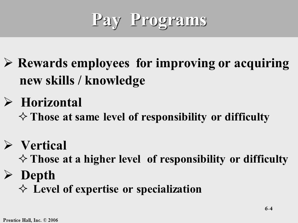 Pay Programs Rewards employees for improving or acquiring