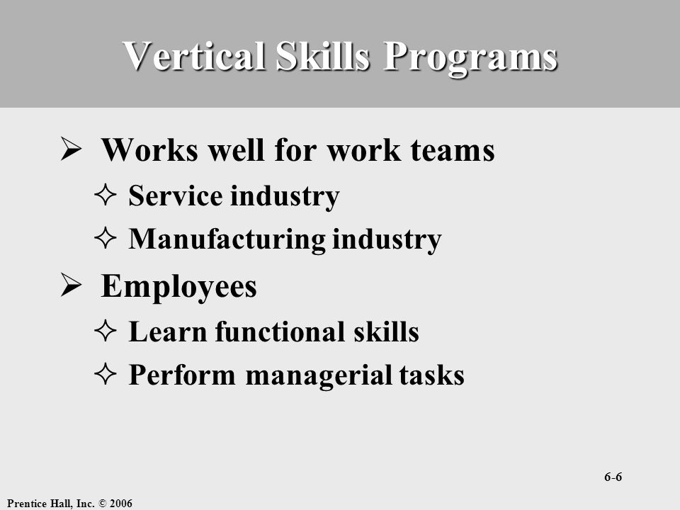 Vertical Skills Programs