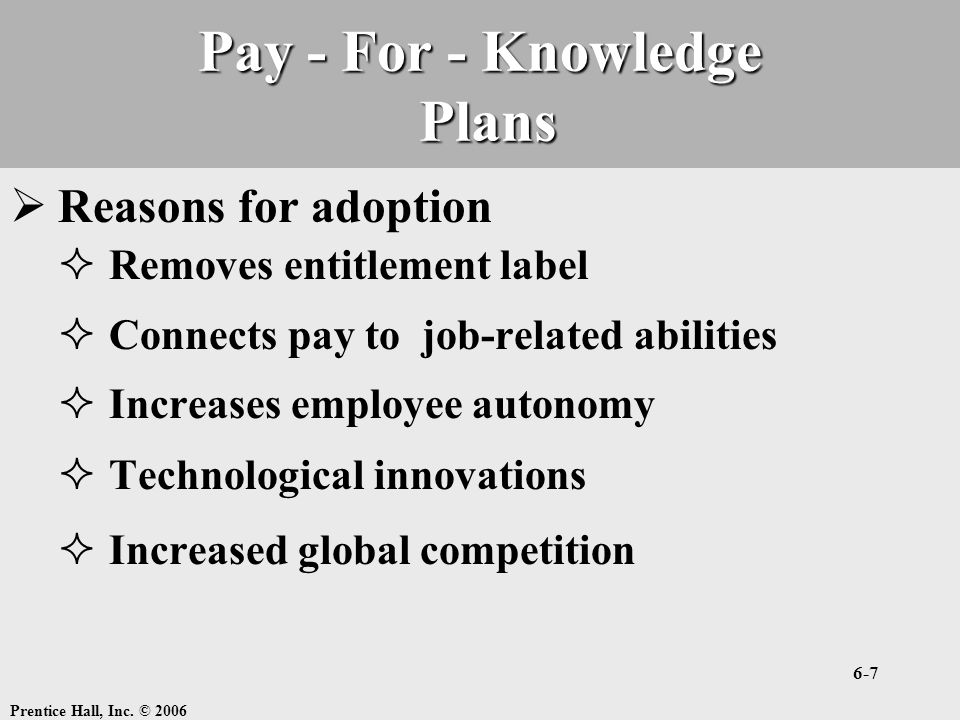 Pay - For - Knowledge Plans