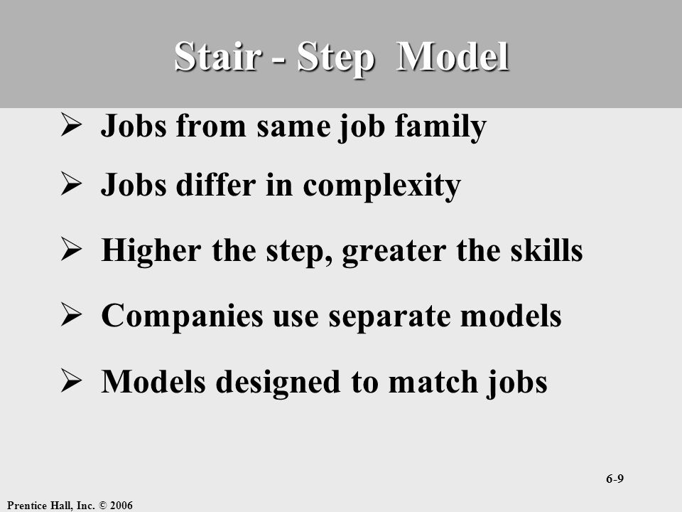 Stair - Step Model Jobs from same job family Jobs differ in complexity