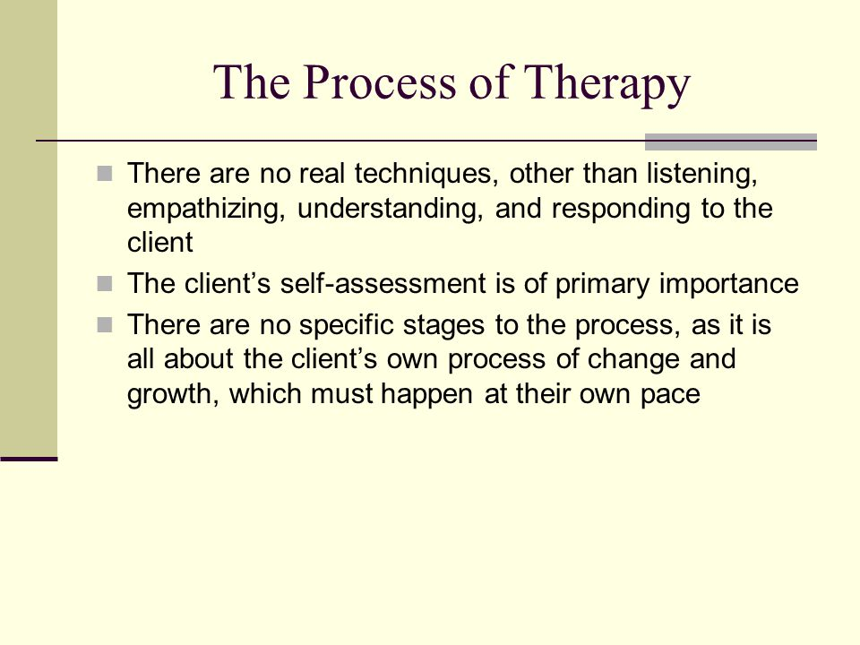 The Process of Therapy There are no real techniques, other than listening, empathizing, understanding, and responding to the client.