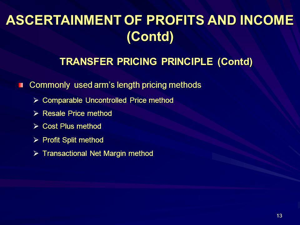 TRANSFER PRICING PRINCIPLE (Contd)