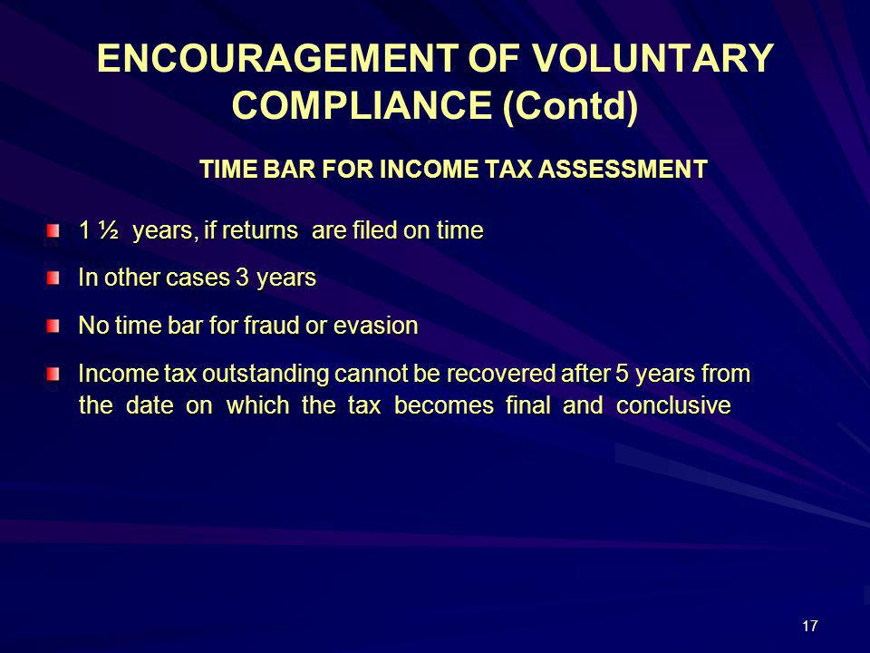 ENCOURAGEMENT OF VOLUNTARY COMPLIANCE (Contd)