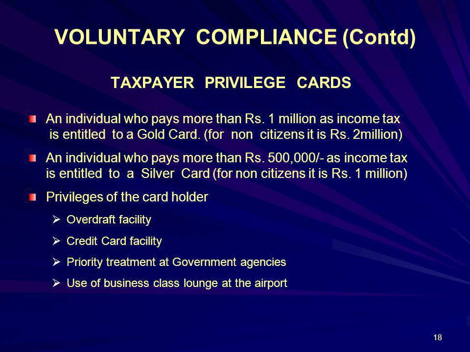 VOLUNTARY COMPLIANCE (Contd)