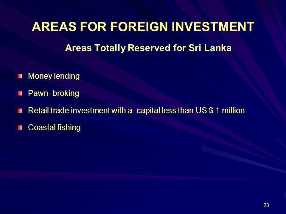 AREAS FOR FOREIGN INVESTMENT