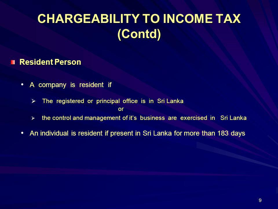 CHARGEABILITY TO INCOME TAX (Contd)