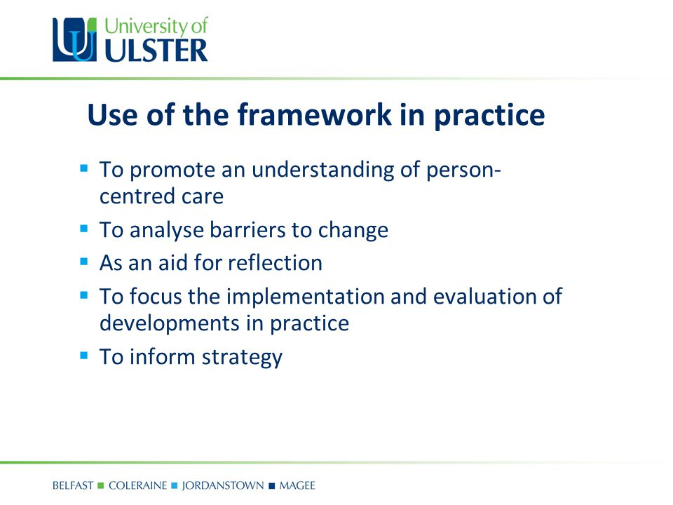 Use of the framework in practice