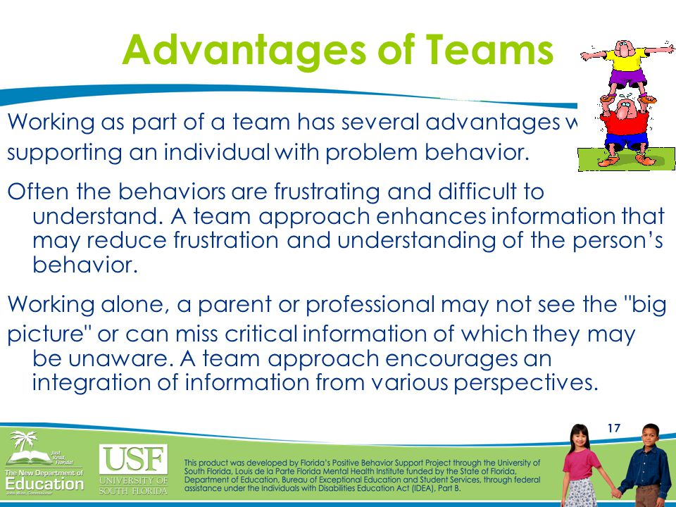 Advantages of Teams Working as part of a team has several advantages when. supporting an individual with problem behavior.