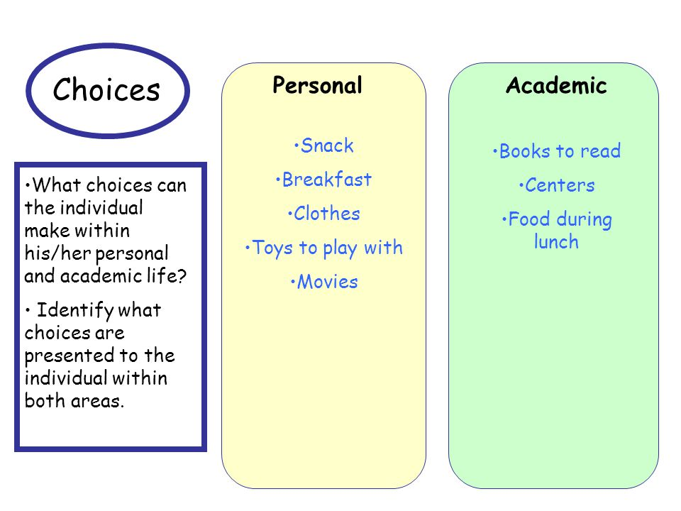 Choices Personal Academic Snack Books to read Breakfast Centers
