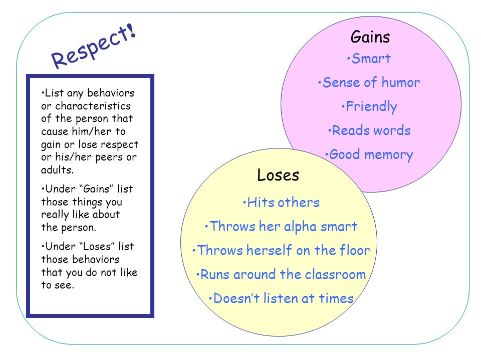 Respect! Gains Loses Smart Sense of humor Friendly Reads words