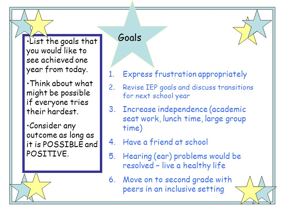 Goals List the goals that you would like to see achieved one year from today. Think about what might be possible if everyone tries their hardest.