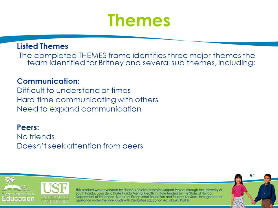 Themes Listed Themes. The completed THEMES frame identifies three major themes the team identified for Britney and several sub themes, including: