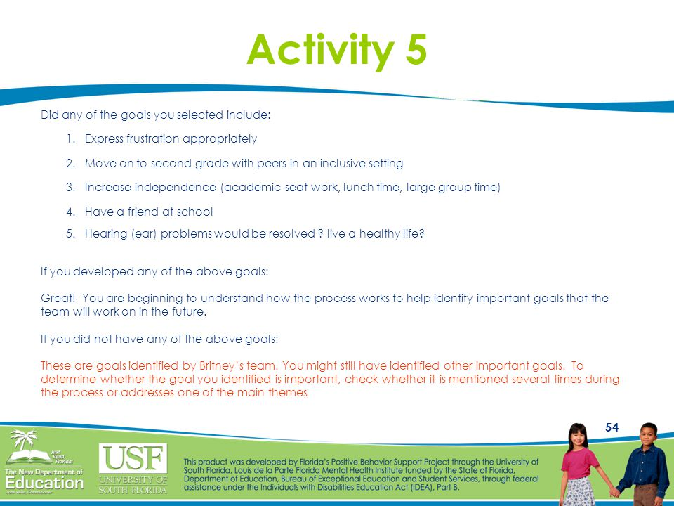 Activity 5 Did any of the goals you selected include:
