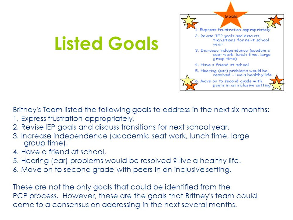 Listed Goals Britney s Team listed the following goals to address in the next six months: 1. Express frustration appropriately.
