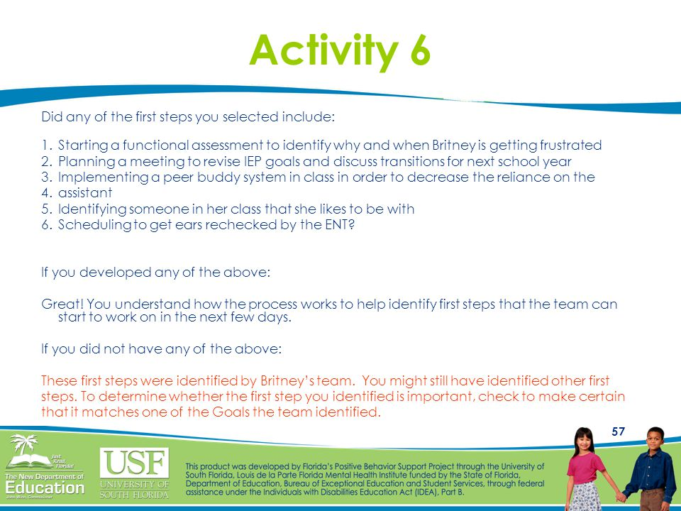 Activity 6 Did any of the first steps you selected include: