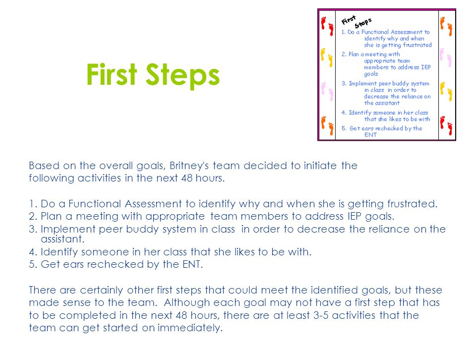 First Steps Based on the overall goals, Britney s team decided to initiate the. following activities in the next 48 hours.