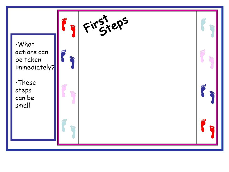 First Steps What actions can be taken immediately These steps can be